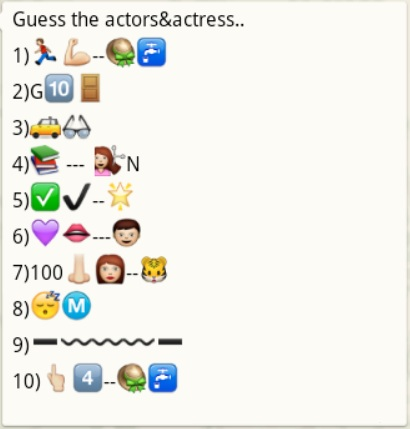 guess the actor and actresses name from whatsapp emoticons. Black Bedroom Furniture Sets. Home Design Ideas