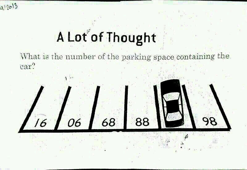 A Lot Of Thought Parking Number Puzzle on Kindergarten Iq Test